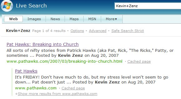 "Bing search for ""Kevin Zens"""