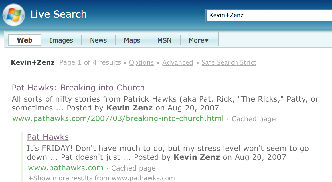 """Bing search for """"Kevin Zens"""""""