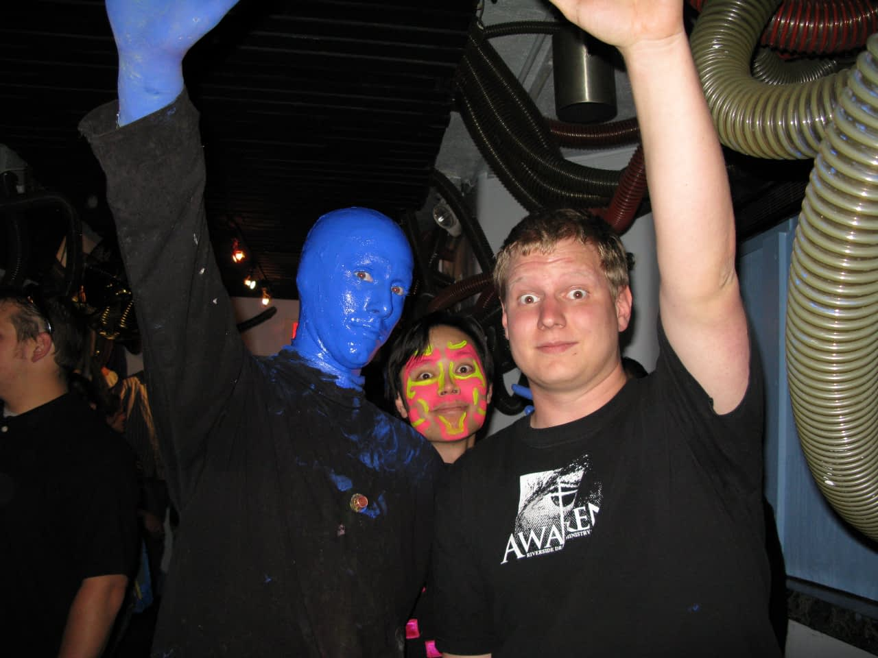 Pat with Blue Man and musician