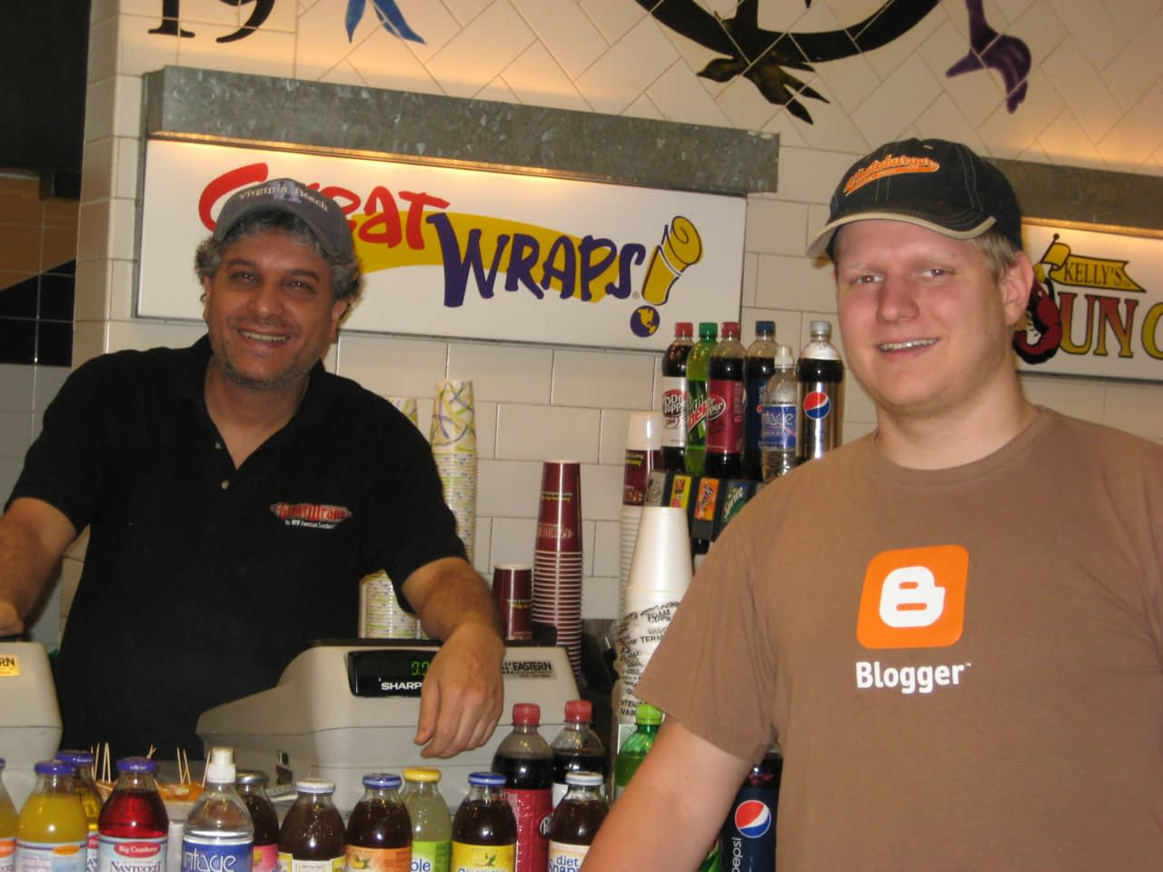 Pat with the manager of Great Wraps
