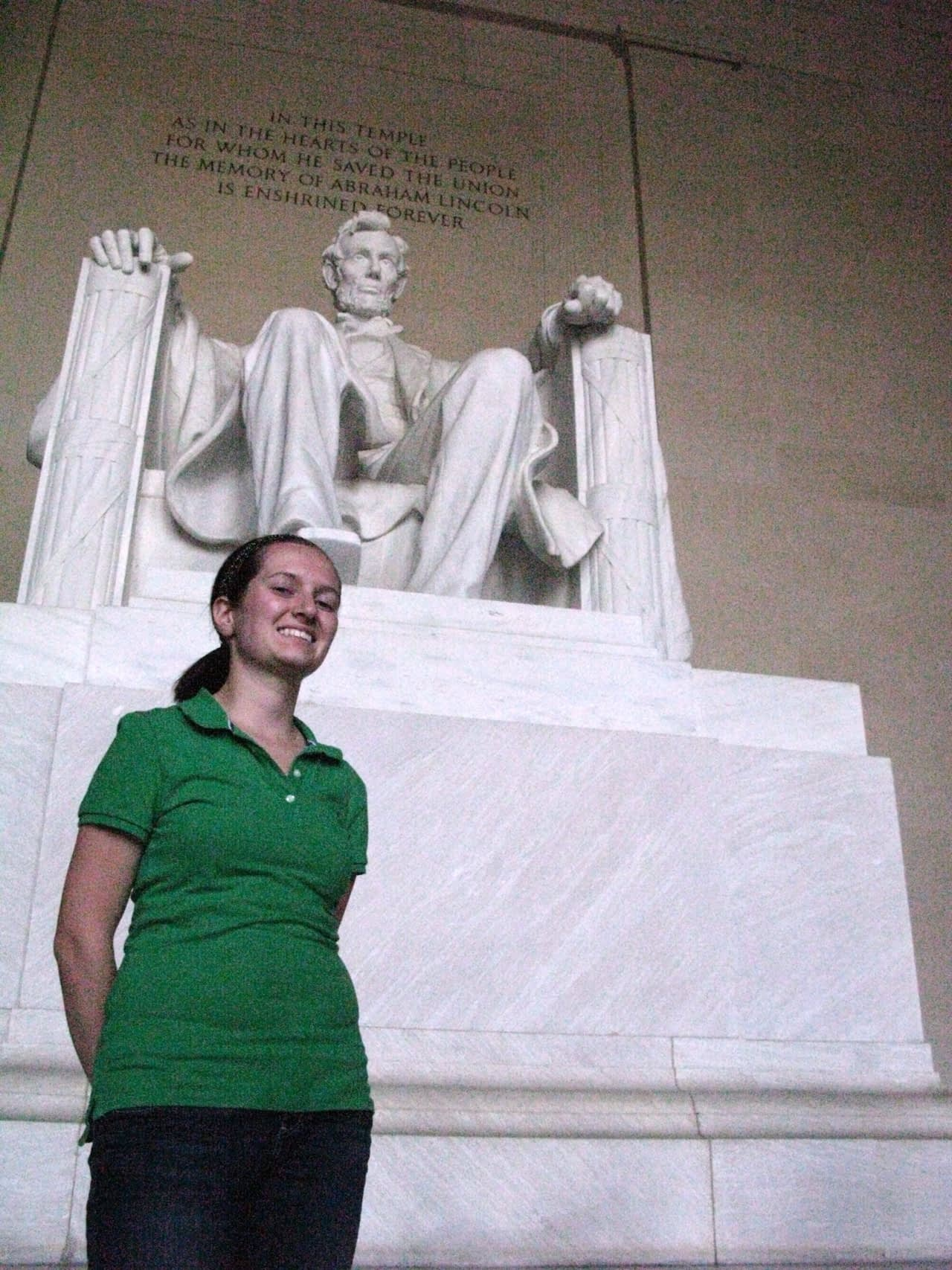 Christine in front of the Lincoln Memorial